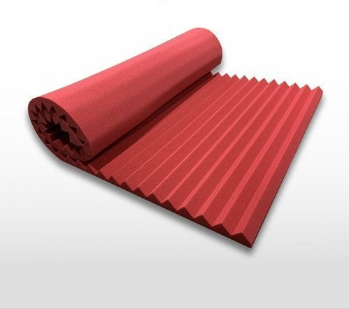 "Acoustical Wedge Red 2"" x 48"" x 96"" Soundproofing Acoustic Foam 2"" Thick Wedge Style 8ft X 4ft Sheet (32 Sqft)"