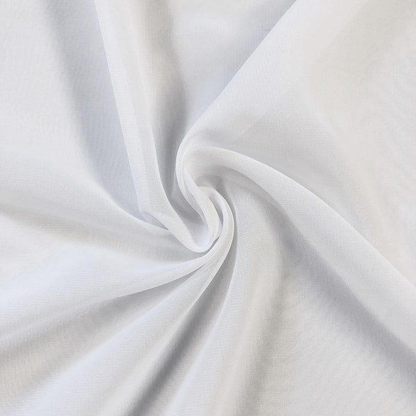 White Chiffon Fabric Polyester Sheer 58'' Wide By the Yard for Garments, Decoration, Crafts special occasions, bridesmaid dresses and more.