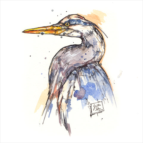 """Blue Heron"" - Original 8x10 Illustration (SOLD)"