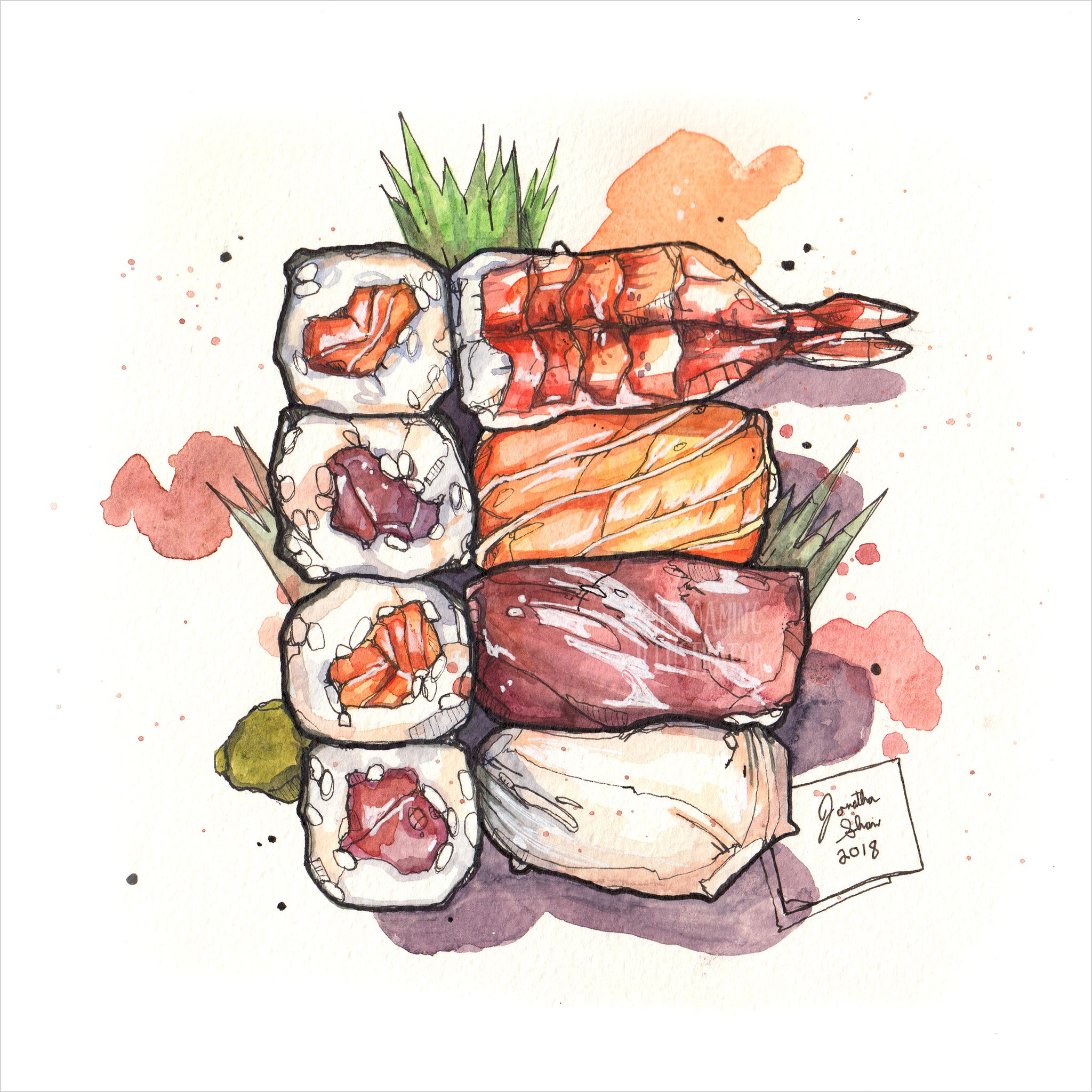"""Sushi Tray"" - Original 8x10 Illustration (SOLD)"