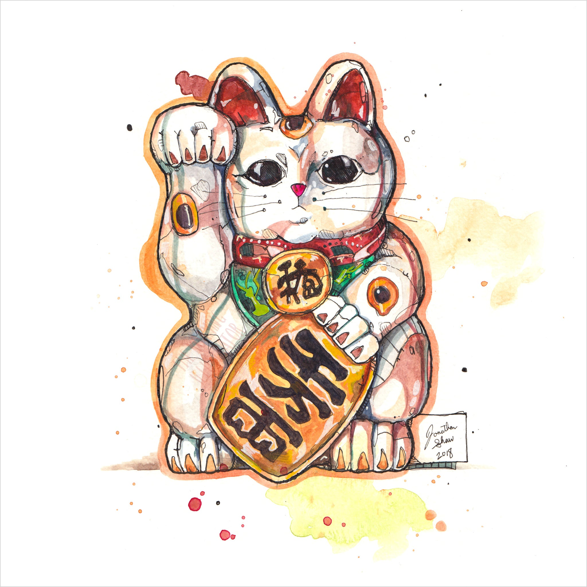 """Maneki Neko"" - Original 8x10 Illustration (SOLD)"