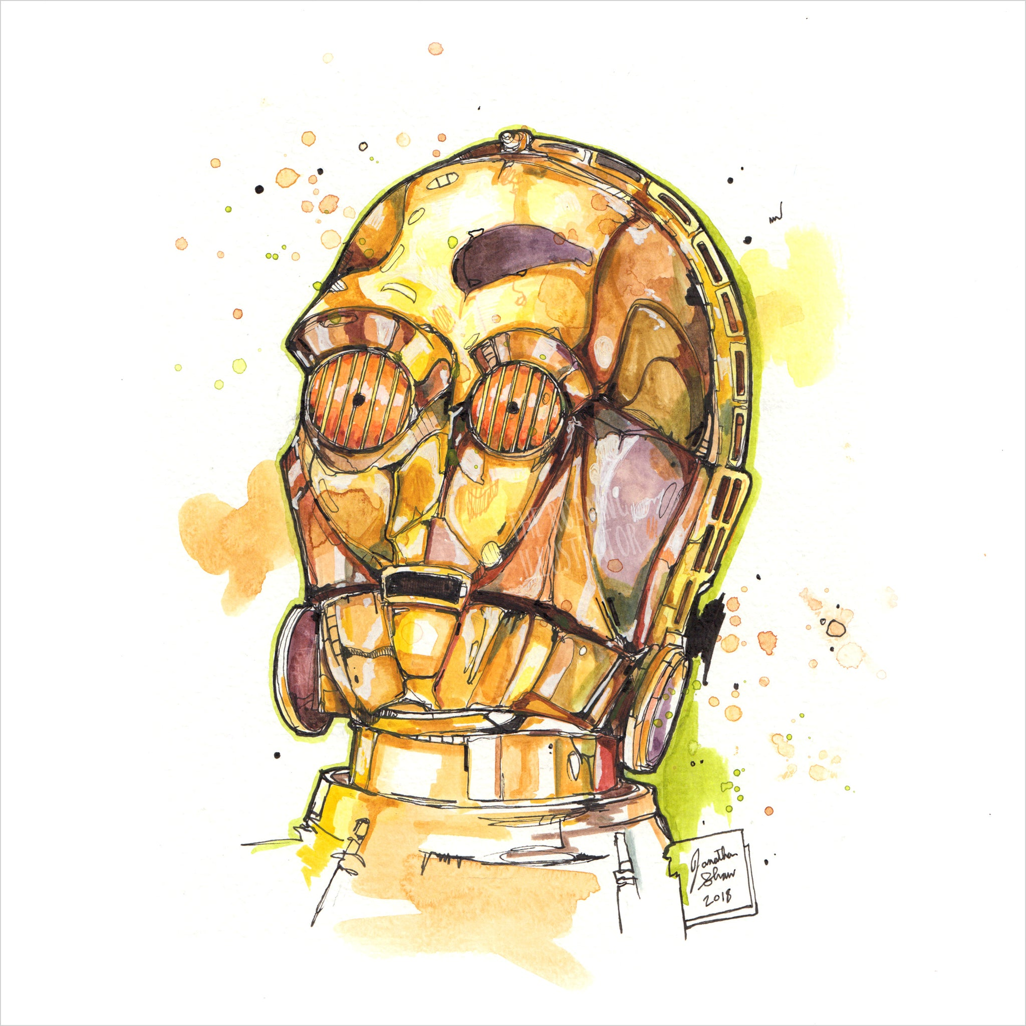 """C3PO"" - Original 8x10 Illustration (SOLD)"