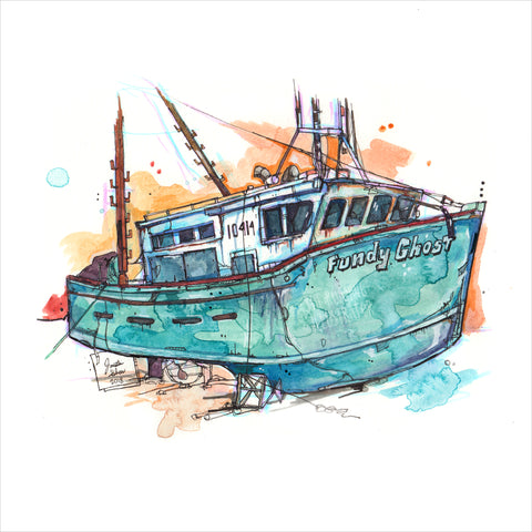 """Alma Fishing Boat"" - 8x10 Reproduction print"