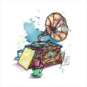"""Vintage Record Player"" - Original 8x10 Illustration (SOLD)"
