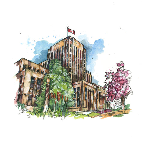 """Vancouver City Hall"" - Original 8x10 Illustration (SOLD)"