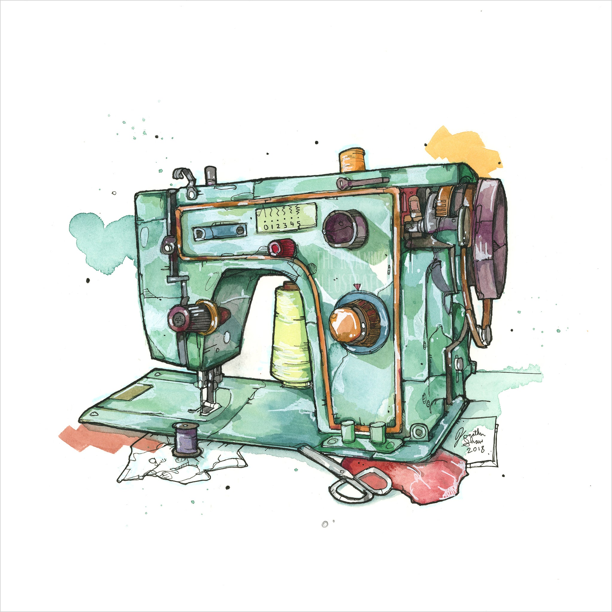 """Sewing Machine"" - 8x10 Reproduction Print"