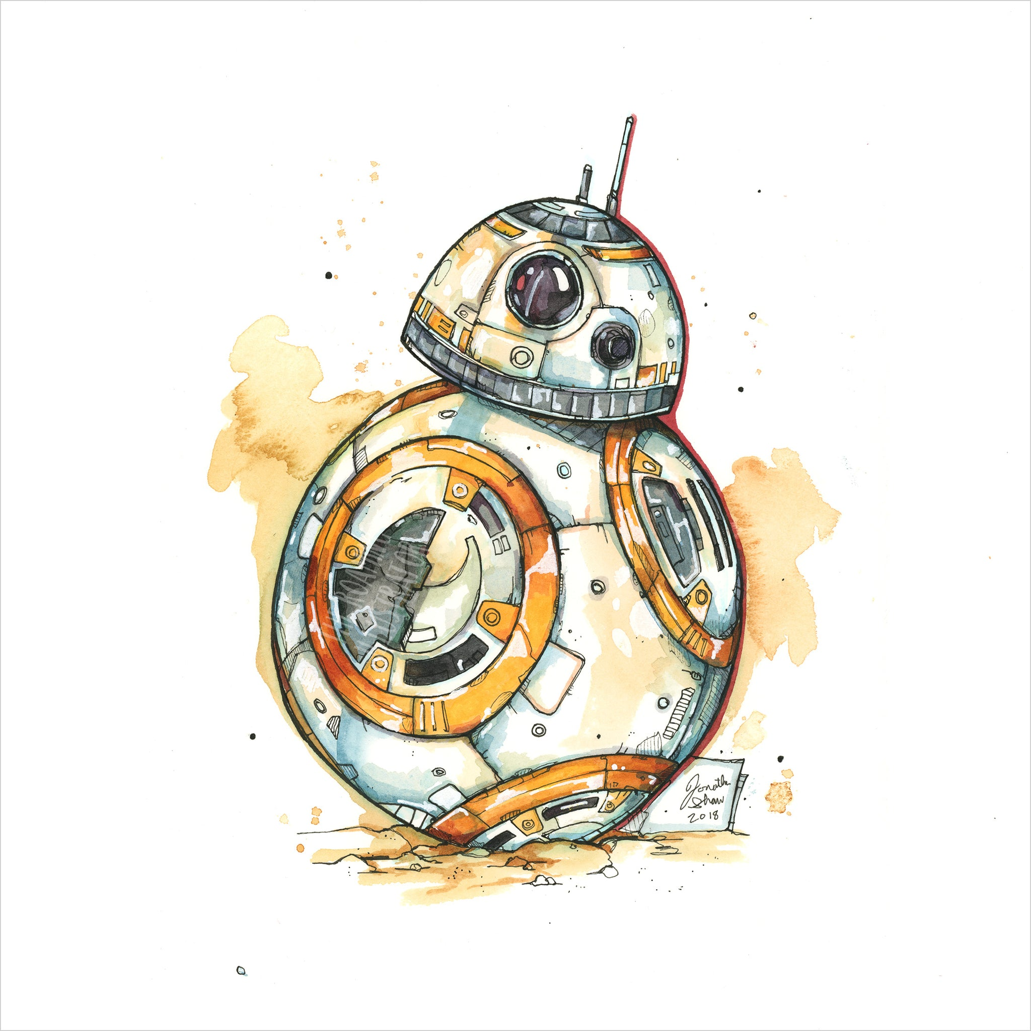 """BB-8"" - Original 8x10 Illustration (SOLD)"