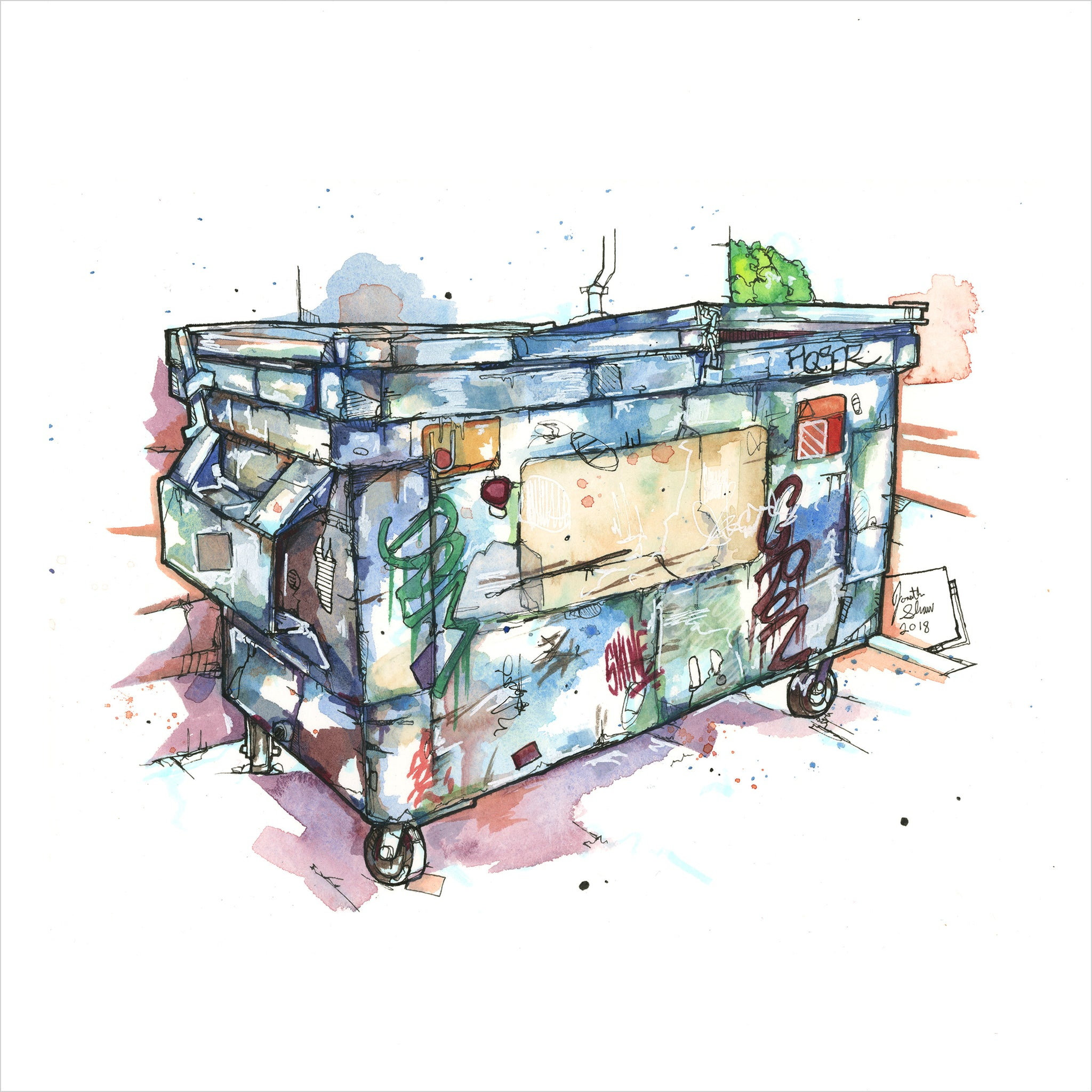 """Blue Dumpster"" - Original 8x10 Illustration (SOLD)"