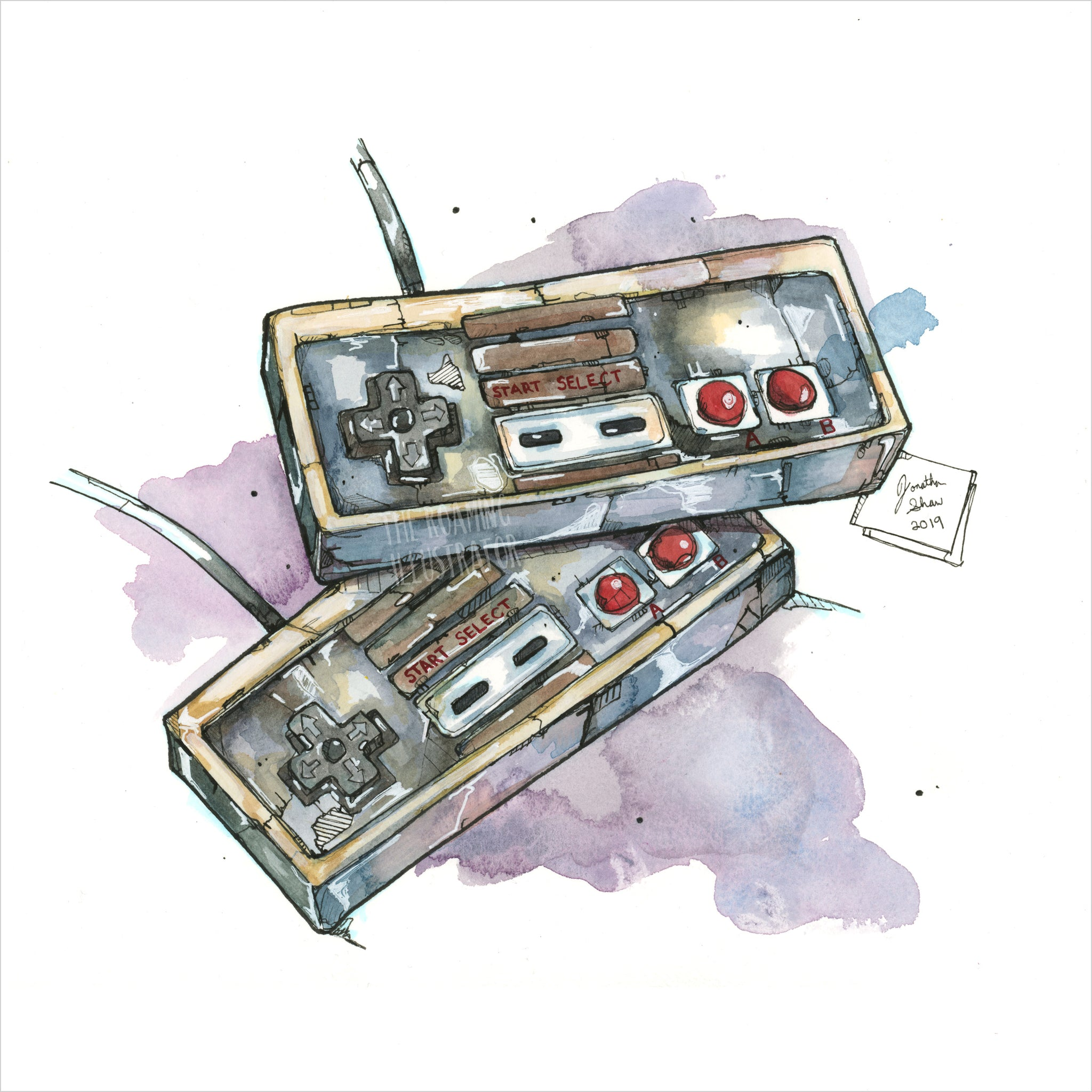 """NES Controllers"" - Original 8x10 Illustration (SOLD)"