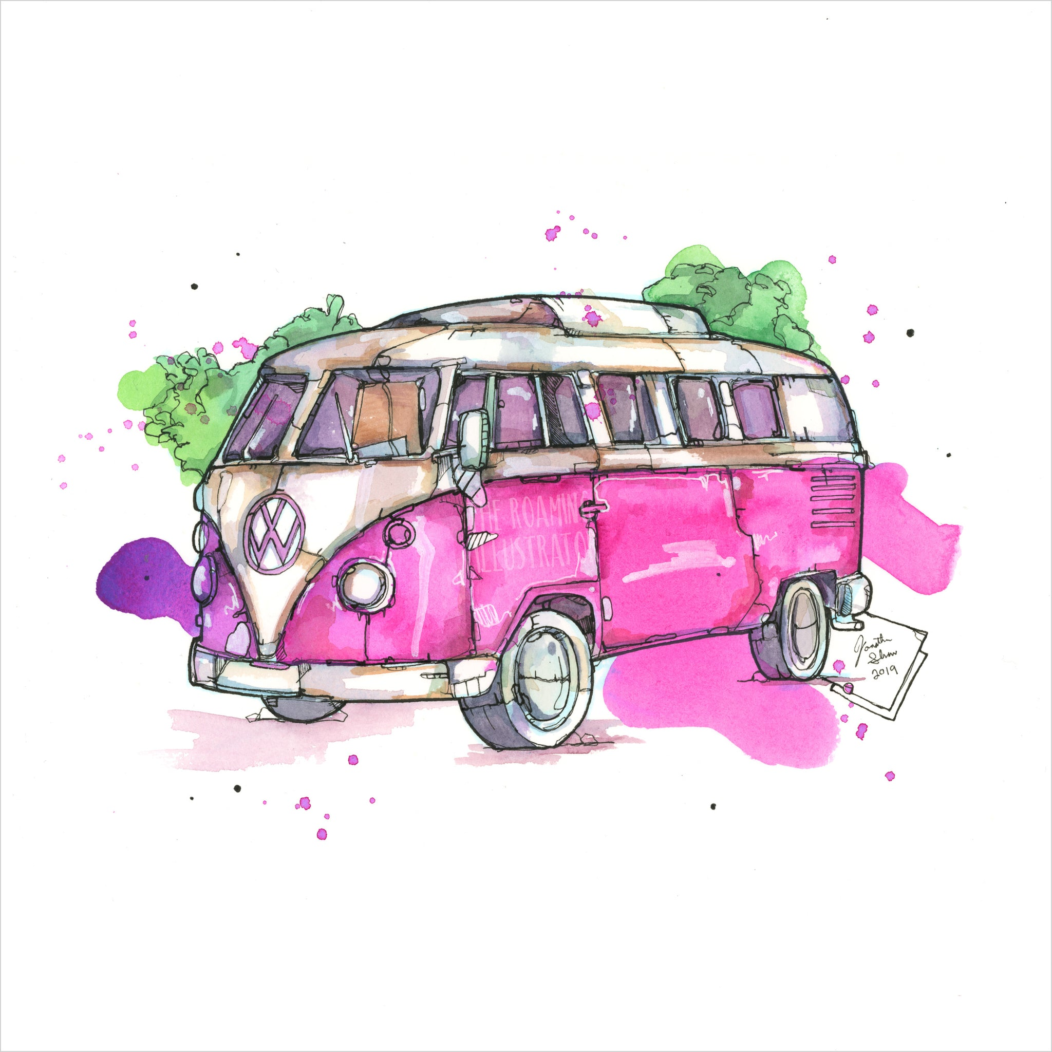 """Volkswagen Van"" - 8x10 Reproduction print"