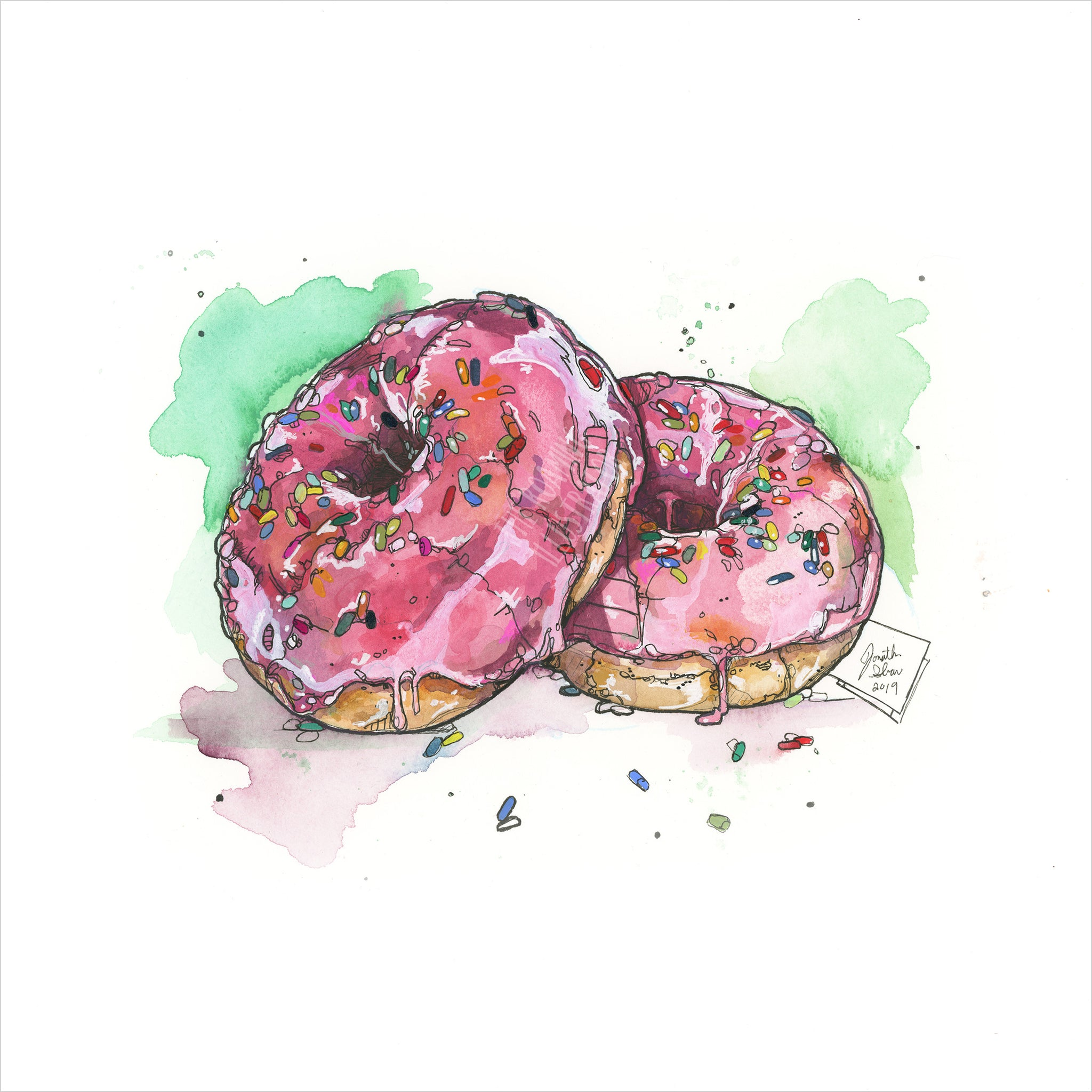 """Glazed Donuts"" - Original 8x10 Illustration"