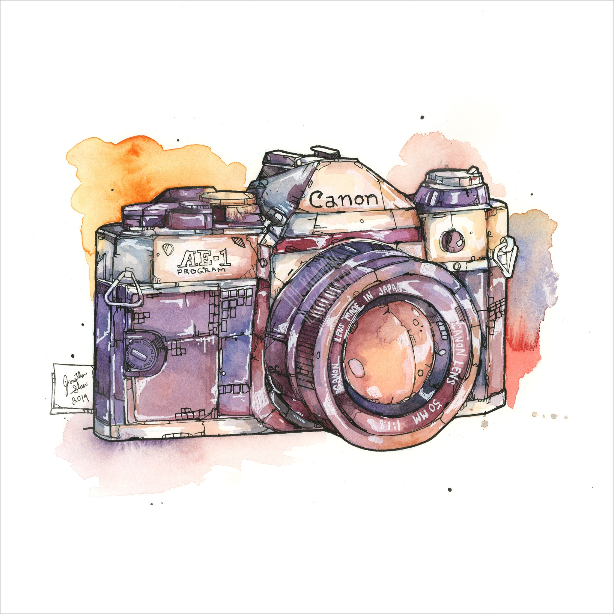 """35mm Film Camera"" - Original 8x10 Illustration (SOLD)"