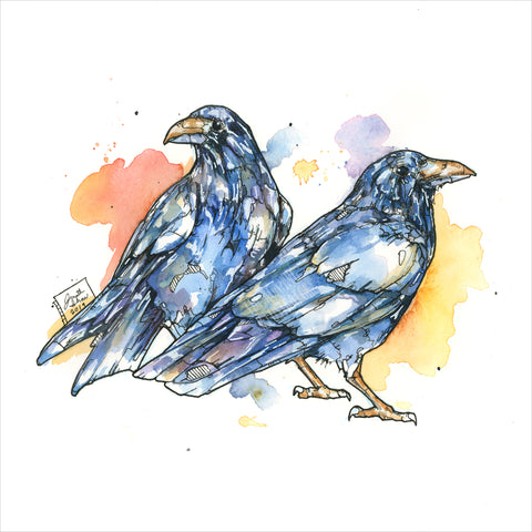 """Two Crows"" - Original 8x10 Illustration (SOLD)"