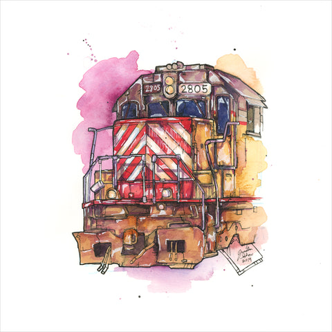 """Train Locomotive"" - Original 8x10 Illustration"