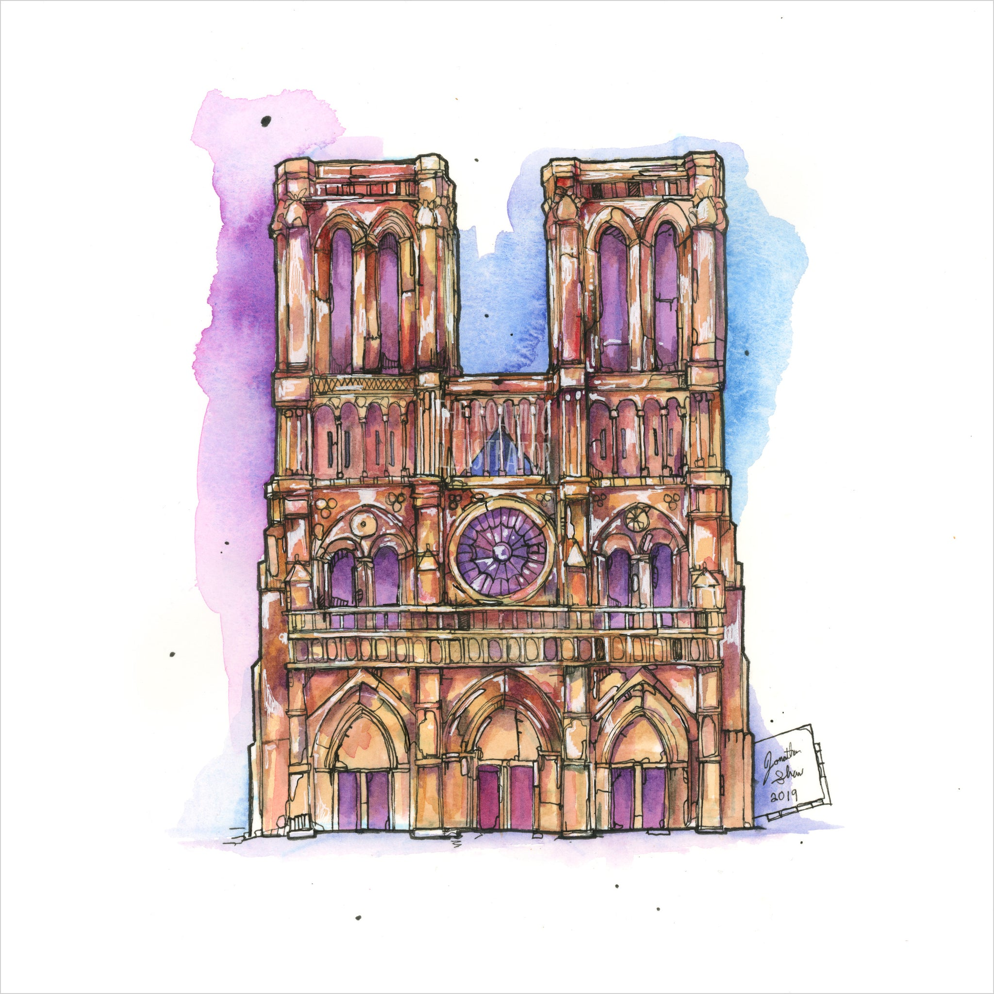 """Notre Dame"" - Original 8x10 Illustration (SOLD)"