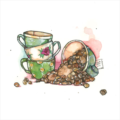 """Coffee Time"" - Original 8x10 Illustration (SOLD)"