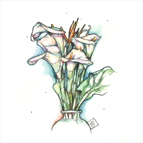 """Calla Lillies"" - Original 8x10 Illustration (SOLD)"