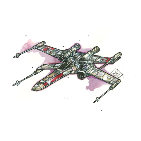 """X-Wing"" - Original 8x10 Illustration (SOLD)"