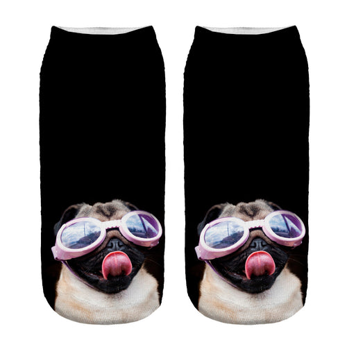 Pink Goggles Pug Low Cut Ankle Socks