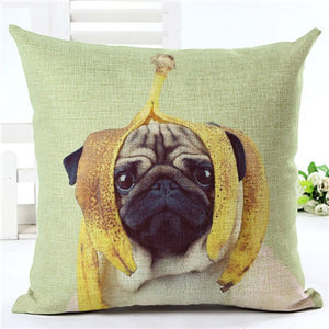 Funny Pug Home Decorative Sofa Cushion Pillow Case (Various Designs)