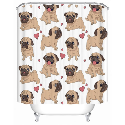 Pug Shower Curtain With Hooks