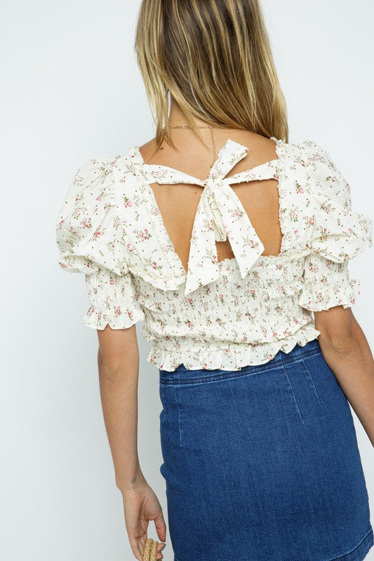 FLORAL SMOCKED PUFF SLEEVE TOP
