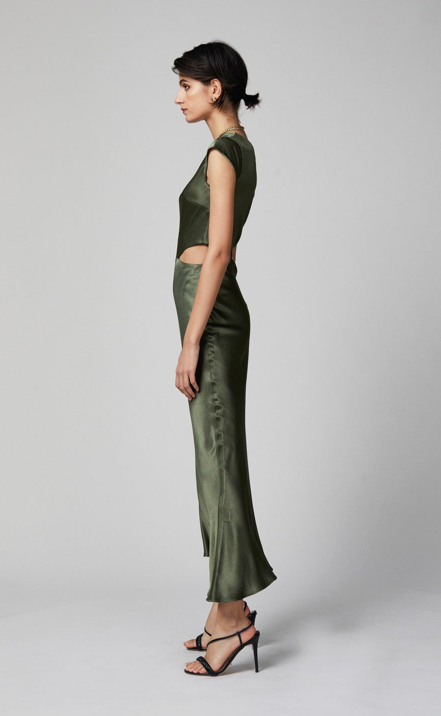 BEC + BRIDGE DELPHINE ASYM MIDI DRESS - FERN