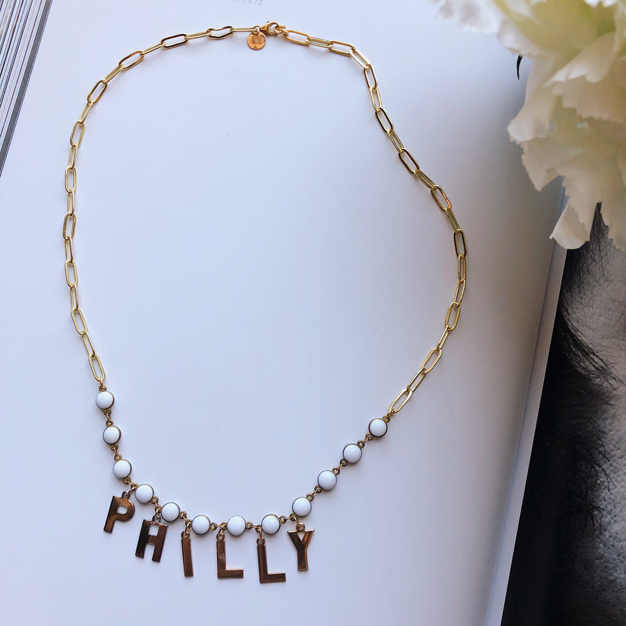 VINTAGE LETTERS NECKLACE - PHILLY