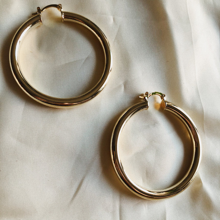 18K CHUNKY GOLD HOOPS - 40mm