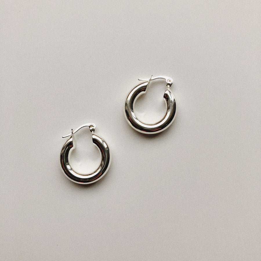 CHUNKY SILVER HOOPS - 3/4""
