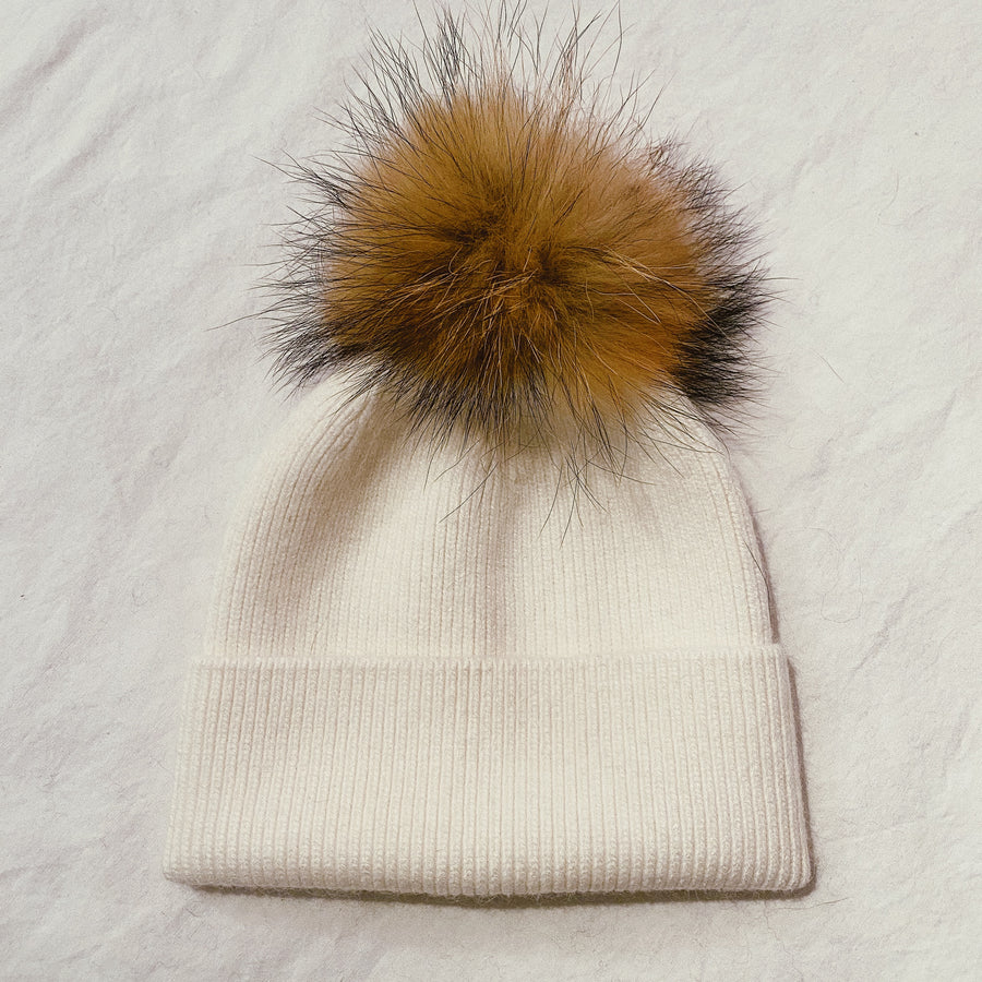RIBBED SINGLE POM BEANIE - NATURAL FUR