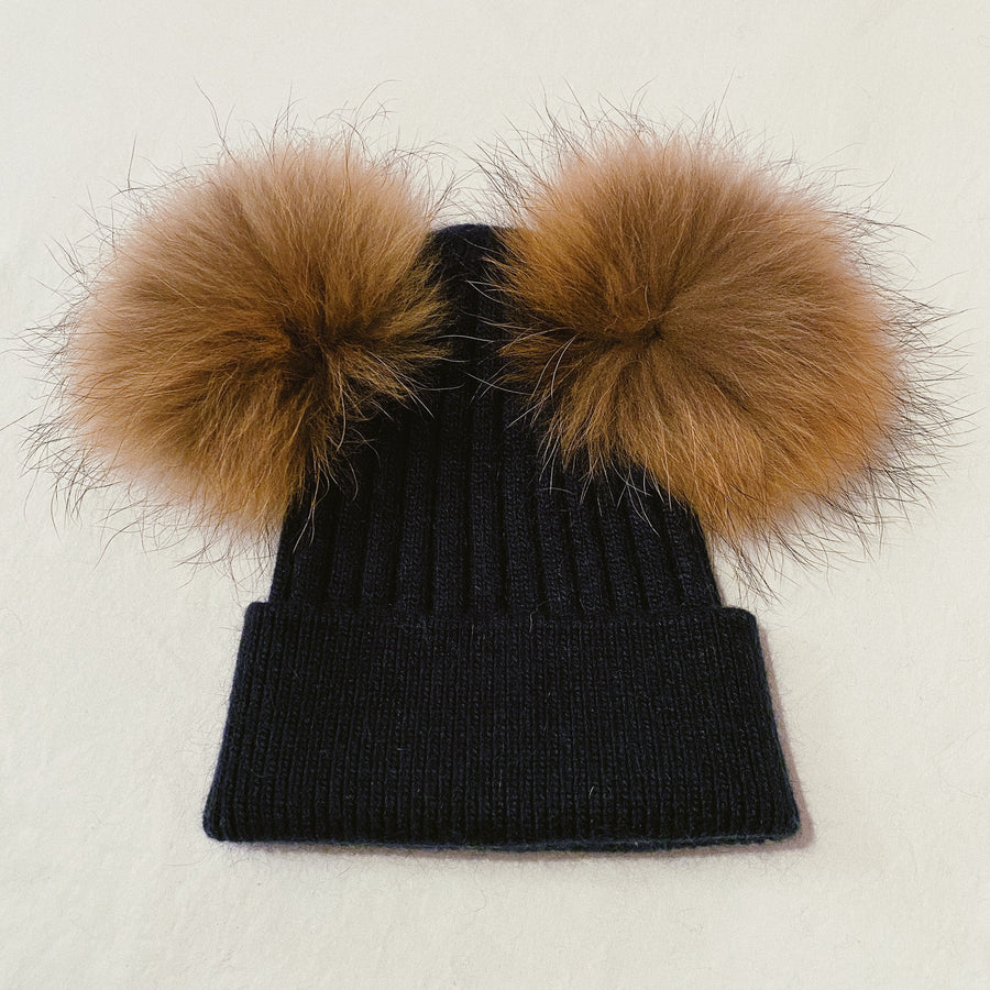 DOUBLE POM RIBBED BEANIE - NATURAL FUR