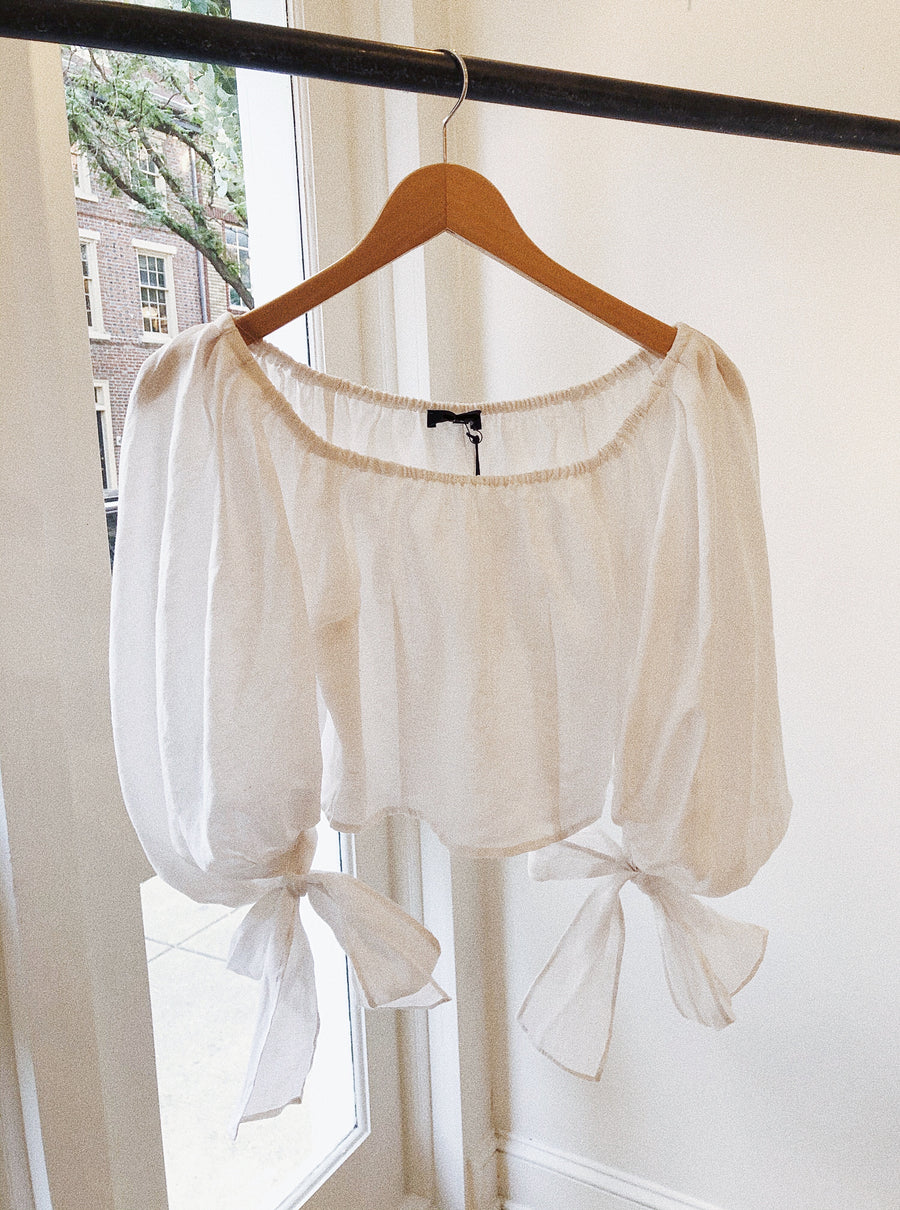 LINEN OFF SHOULDER CROPPED TOP