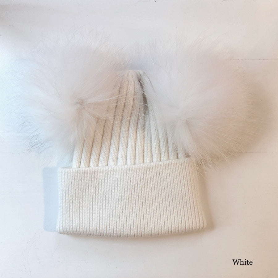 DOUBLE POM RIBBED BEANIE