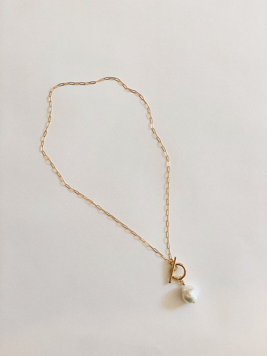 18K CABLE CHAIN W/ PEARL