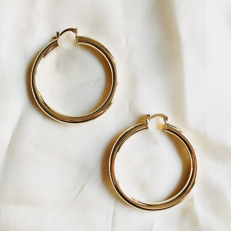 18K CHUNKY HOOPS - 50mm