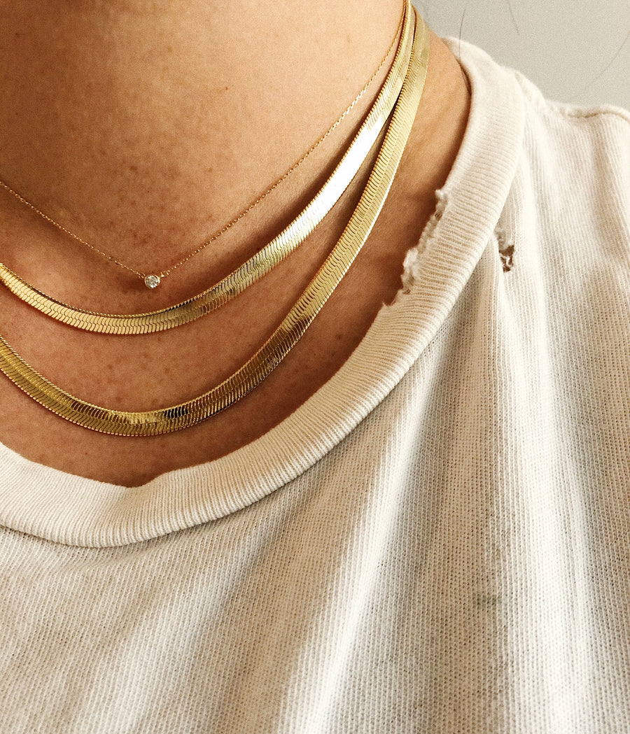14K HERRINGBONE NECKLACE - 5mm