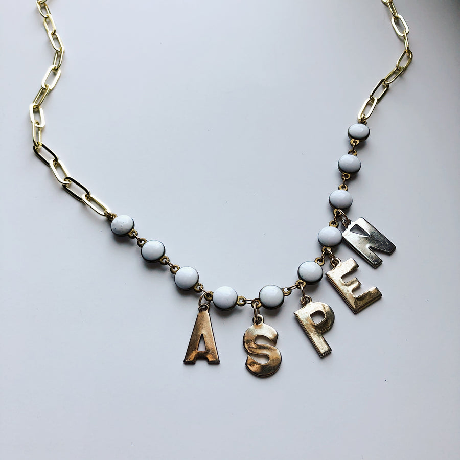 VINTAGE LETTERS NECKLACE - ASPEN