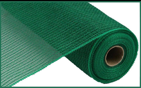 "10.5""X10yd Faux Jute/Pp Small Stripe emerald green"