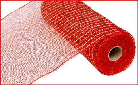 "10.5""X10yd Poly/Jute Mesh - Red/Natural - unique in the creek canada"