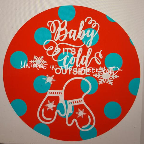 "104. BABY ITS COLD OUTSIDE RED TEAL. JINGLE ALL THE WAY ""PAPER"" image center"