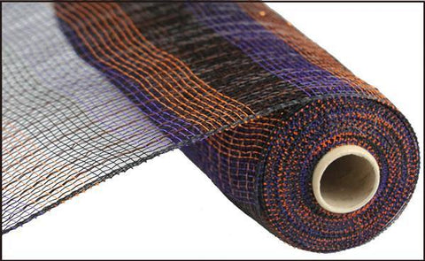 "10""X10yd Horizontal Stripe Foil/Mesh- black orange purple gold - unique in the creek canada"