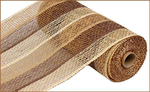 "Deco mesh - 10"" x 10yd BUFF/CHOCOLATE/BEIGE STRIPE Poly Burlap - unique in the creek canada"
