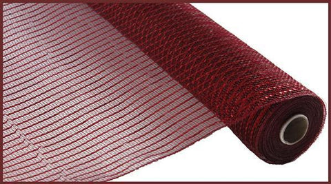 "Deco mesh - 10"" x 10yd BURGUNDY with red Wide Foil - unique in the creek canada"