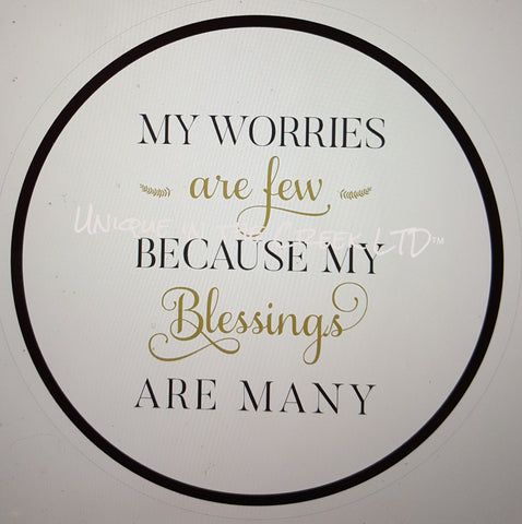 my worries are few because my blessings are many- digital insert for use with the UITC system