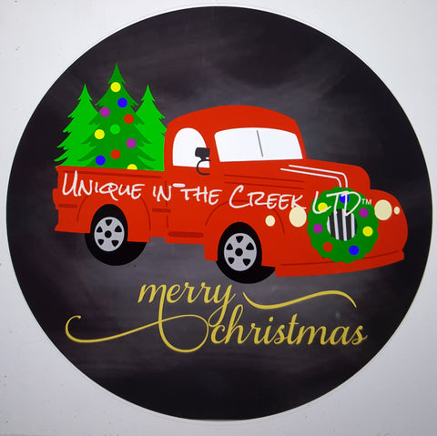 merry christmas with red truck- digital insert for use with the UITC system