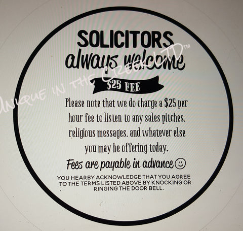No Soliciting Fee charged -digital insert for use with the UITC system