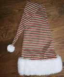 "36"" plush large rim santa hat with red green white"