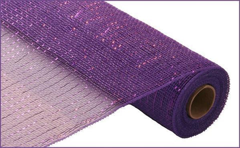 "Deco mesh - 21"" x 10yd DARK PURPLE with purple Foil - unique in the creek canada"