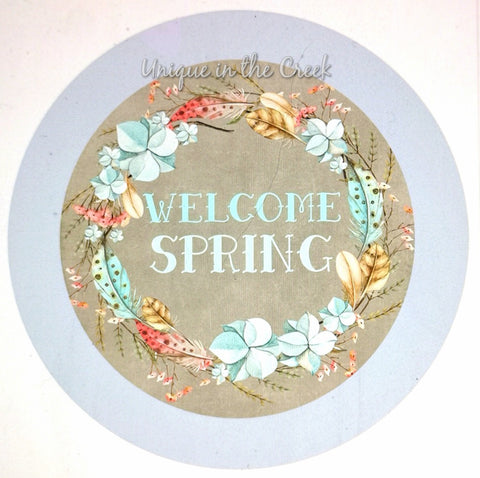 Welcome Spring periwinkle- digital insert for use with the UITC system